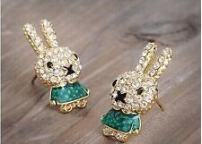 FREE GIFT BAG Cute Gold Plated Easter Animal Bunny Rabbit Crystal Stud Earrings