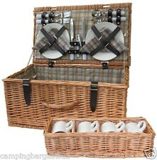 Wicker Picnic Basket Hamper 4 Person Set 28 Piece Camping Beach Travel Gift BBQ