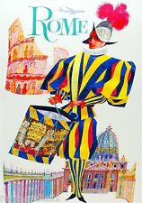 Rome Italy by Clipper Airplane Vintage Art Travel Advertisement Poster Print