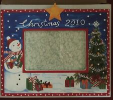 NEW 2010 EXPOSURES Picture FRAME Horizontal Hand Painted Christmas SNOWMAN Tree