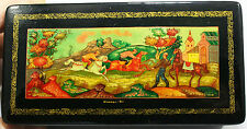 Beautiful Russian paper mache hand painted vintage authentic Mstera Box 1980