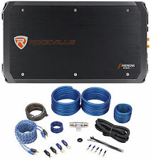 Rockville RXA-T2 2400 Watt Peak/1250w RMS 2-Channel Car Stereo Amplifier+Amp Kit