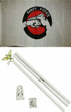 3x5 Advertising Kenpo Karate Martial Arts Flag White Pole Kit Set 3'x5'