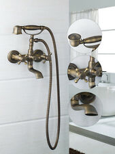 Antique Brass Bathroom Basin Sink Mix Tap With Shower Wall Mounted Faucet JU724