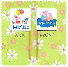 20 PERSONALISED PEPPA PIG CUP CAKE FLAG Party Pick Topper Birthday Decoration