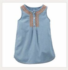 Carter's Embroidered Chambray Poplin Tunic Shirt Toddler Girl Clothes Size 4t