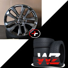 "22"" Split Spoke Style Hyper Black Wheels W/Tires Fits Toyota Tundra Landcruiser"