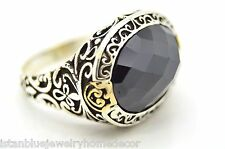 BLACK ONYX HANDMADE 925 STERLING SILVER BRONZE MEN WOMEN TURKISH RING SIZE 11.75