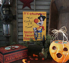 Primitive Antique Vtg Style Sexy Pin Up Girl Witch Suzie's Halloween Canvas Sign