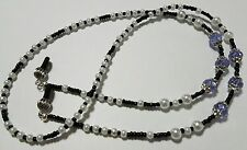 Classic Pearl w/Lavendar Black Beaded Eyeglass Reading Glasses Chain Necklace