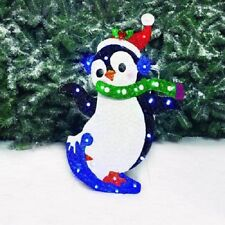 "28""LED Glittering Metal Penguin with Santa Hat Outdoor Christmas Decor Yard Art"
