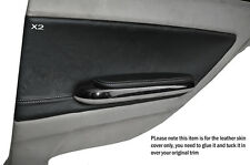 GREY STITCH 2X REAR DOOR CARD TRIM LEATHER COVERS FITS BMW E46 COUPE 1998-2005