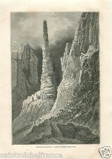 Landscape Tennisson Monument Rocky Mountains Canada GRAVURE ANTIQUE PRINT 1860
