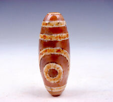 Old Tibetan Agate Cinnabar *2 Eyes Pattern* LARGE Dzi Bead #02011701