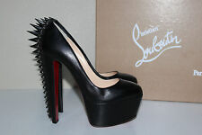 9 / 39 Christian Louboutin Electropump Black Leather Spiked Platform Pump Shoes