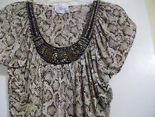 Chaus Earth Sahara Pullover Small Jeweled Scoop Neckline Cap Sleeve NWT Small