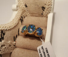 4.25ct Australian Boulder Opal Trilogy Ring in 14k Gold Over S/Silver 'R'