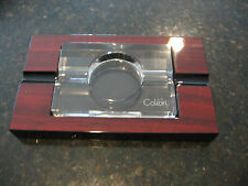 COLIBRI  CHERRY LACQUER LEAD CRYSTAL CIGAR ASHTRAY  NICE TABLE PIECE