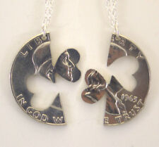 Franklin Half Dollar Heart Cut Pair, Cut Out Coin Jewelry, Necklace