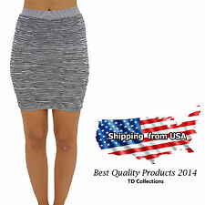 Women Sexy  Striped Mini Skirt Pleated Seamless Stretch Tight Fitted Bodycon