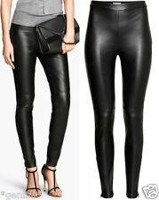 H&M SIZE UK 16 / 42 SKINNY LEDER BIKER Lederhose FAUX LEATHER LEGGINGS TROUSERS