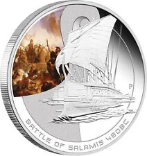 2010 Cook Islands Famous Naval Sea Battles Salamis 480 BC $1 Pure Silver Proof