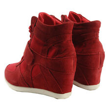 New Women's Hidden Wedge Heel boots Comfort  high top ankle fashion sneakers
