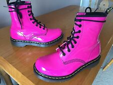 Dr Martens 1460 Hot Pink leather patent boots UK 4 EU 37 punk retro skin kawaii