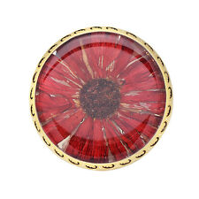 925 Solid Sterling Silver 24k Yellow Gold Plated Red Natural Floral Ring Jewelry