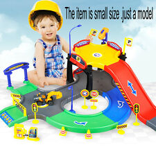 KIDS CHILDRENS 2 LEVEL MODERN CAR PARK GARAGE PETROL STATION PLAY SET TOY