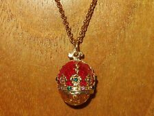 FABERGE inspired ENAMEL Swarovsky Crystals RED CROWN Amber EGG pendant chain