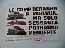 advertising Pubblicità 1992 JEEP CHEROKEE/CHRYSLER VIPER/VOYAGER