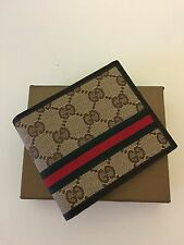 Men Gucci Beige Leather Wallet With Signature Web