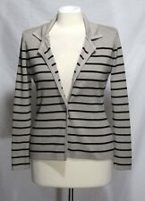 Cyrus - S - Beige & Black Striped One-Button 82% Viscose Cardigan Sweater