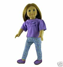 Doll Clothes Leggings Floral Lavender with Shirt fit 18 inch American Girl