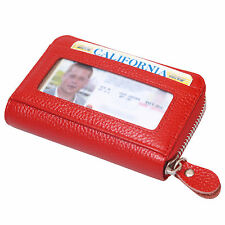 Red Leather Wallets Zip Round Mini Credit Card Case Purse Business Card Case