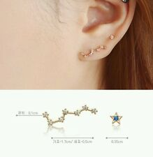 Big Dipper The Plough rose gold plated earring asymmetric ear stud silver zircon