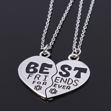 2Pcs Set BEST FRIENDS FOREVER Heart Flower Friendship Pendant Necklace Chain