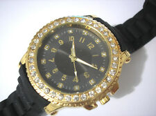 Bling Bling Big Case Rubber Band Ladies & Girls Watch Black Item 2495