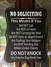#6 No Soliciting Sign, Front Door, Fence, Home privacy. Wood Black & White Gift