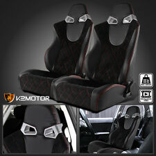 Pair JDM Leather/ Suede Red Stitch GT Racing Seats w/Slider Black
