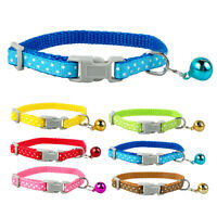 0.8cm Wide Nylon Dots Print Small Puppy Dog Kitten Cat Collar with Bell