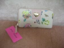 BETSEY JOHNSON ZIP AROUND ENAMEL HEART FLORAL CLUTH WALLET NWT