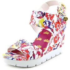 Juicy Couture Trish Women's Open Toe Wedge Sandals Floral High Heel Shoes, Sz 6
