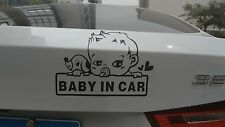 5Baby in car/Baby on board/ car i pad laptop window funny sticker decals/BLACK