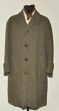 "VINTAGE DUNN & CO HERRINGBONE TWEED CROMBIE COAT 44"" 1950'S"