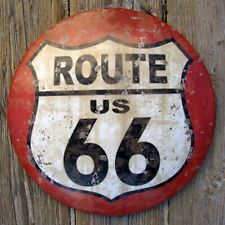 US Route 66 Round Dome Button Road U.S. Street Sign Tin Bar/Pub/Diner Wall Decor