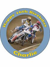 Personalised speedway racing bikes edible icing birthday cake topper round