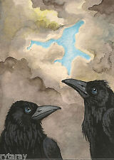 PRINT OF ACEO PAINTING ART RYTA CROW RAVEN HOPE GOTHIC MEDITATION CLOUDS SPRING
