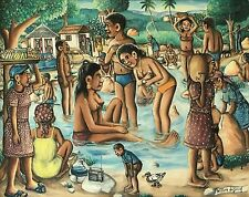 """""""A Boy and a Radio"""" by Wilson Bigaud- Naive Haitian Art - 30 in x 24 in - Framed"""